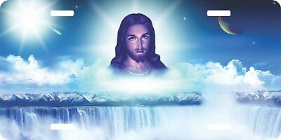 Christian Jesus Clouds Waterfall Vanity Auto Novelty Tag Truck Car License Plate