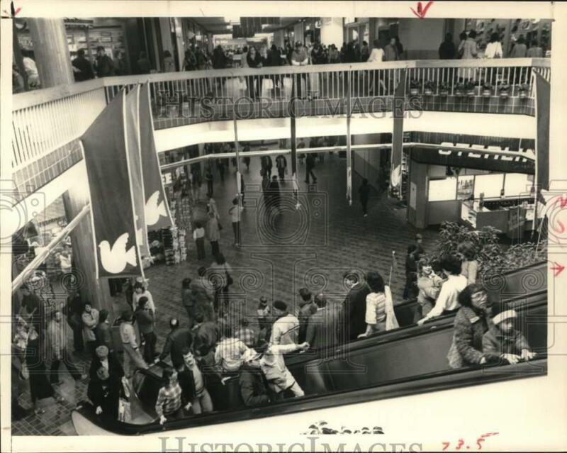1984 Press Photo Shoppers on escalator at Crossgates Mall, Guilderland, New York