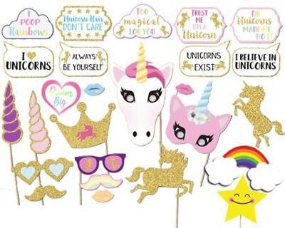 NEW! 26PCS Glitter Unicorn Photo Booth Props Girl Birthday Party Decor Supplies