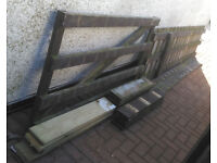 wood wooden garden fence section and gate plus fence planks boards new and used and beams