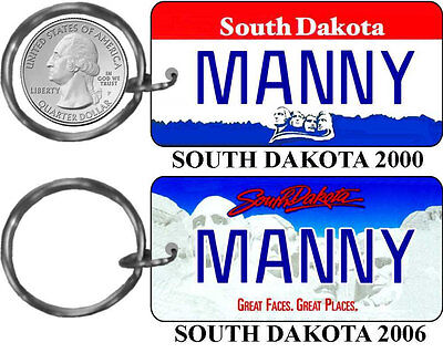 Personalized South Dakota State License Plate Replica keychain ()