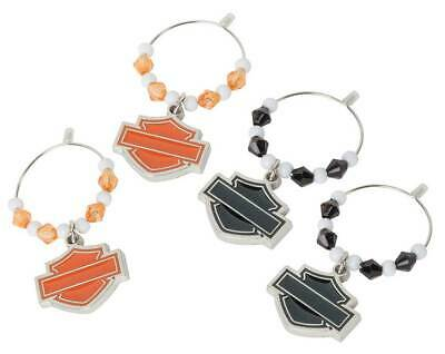Harley-Davidson Silhouette Bar & Shield Wine Glass Charms - 4 Pack HDX-98505 4 Wine Glass Charms