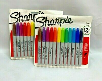 Lot Of 2 Sharpie 30075 Permanent Markers Fine Point Assorted Colors 12 Coun