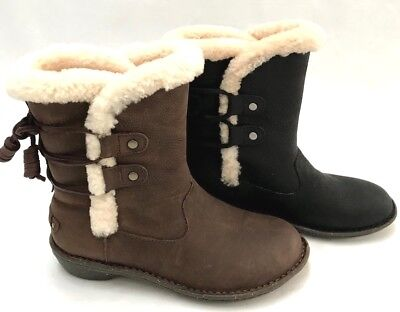 UGG Women's Akadia Winter Lace Up Boots Leather Shearling Black and Brown