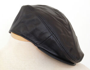 Genuine-Leather-Hat-Cabbie-Beret-5-point-Ivy-Black-One-size-fits-most-Reg-39-95