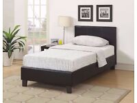 NEW OFFER ~~~ BRAND NEW SINGLE LEATHER BED WITH MATTRESS ONLY £105 BLACK /BROWN