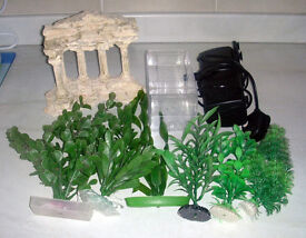 Fish Tank / Aquarium Plastic Plants, Greek Style Ornament, Fry Trap, Noisy Filter.