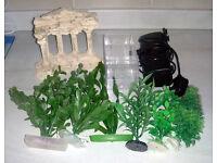 Fish Tank / Aquarium Plastic Plants, Greek Style Ornament, Fry Trap, Noisy Filter.