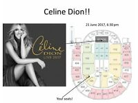 Celion Dion, 2 tickets for sold-out London O2 concert 21 June 2017, excellent seats front of section