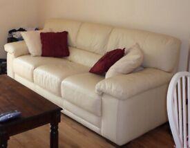 Harveys Beige Leather Sofa