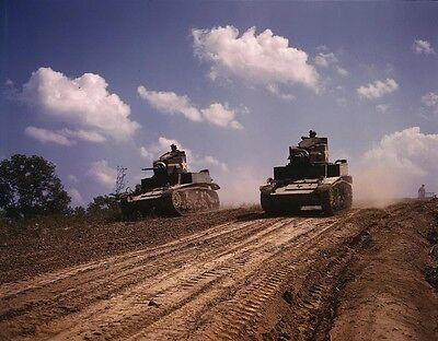 B&W WW2 Photo WWII M3 Stuart Light Tanks Fort Knox US Army World War Two Armor -