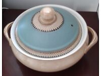 DENBY COVERED CASSEROLE DISH IN THE BLUE AZTEC DESIGN.