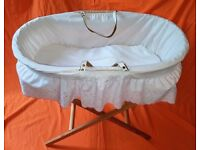 Pine Folding Moses Basket Frame with Wicker Moses Basket and Mattress New Born