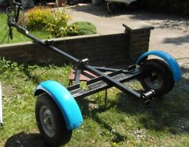 Road Trailer for Fishing Boat. Refurbished with New Hubs and Bearings . Painted Black Hammerite