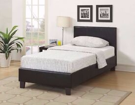 """BRAND NEW 3FT SINGLE LEATHER BED WITH 9"""" THICK DUAL-SIDED SEMI ORTHOPEDIC MATTRESS -EXPRESS DELIVERY"""