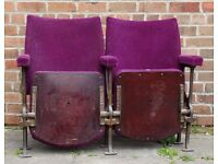 A Pair of Vintage C1930s Art Deco Cinema Seats & Provenance REF106 UK Delivery Available