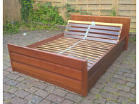 DOUBLE SOLID WOOD BED. RISES BOTH ENDS. GC. DELIVERY POSSIBLE.
