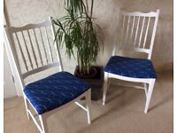 Set of 4 blue and white dining chairs