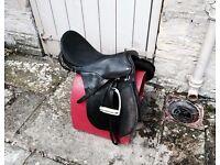 Black Leather PONY SADDLE, HELMET and SADDLE STAND £150