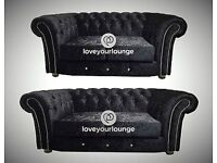BRAND NEW CRUSHED VELVET CHESTERFIELD DIAMANTE 3+2 SOFA DELIVERY NATIONWIDE CHEAPEST ONLINE