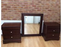 Pair Of Bedside Drawers & Large Wall Hanging Mirror.