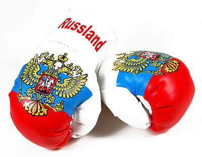 1 Paar Mini Boxhandschuhe Russland 9 cm x 4,5 cm Kunstleder