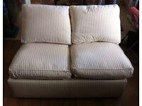 Peach stripe single metal action sofa bed