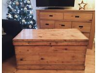 Huge Victorian blanket box antique chest trunk Kist coffee table pine wooden