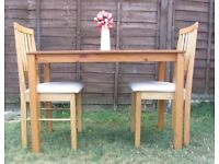 Wooden dining table and 2 chairs pine kitchen table chair with seat covers DELIVERY AVAILABLE TO LE3