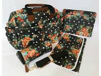 New Changing Bag - Black Flower Print