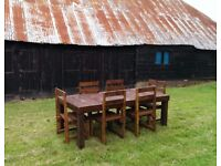 Reclaimed Wood Rustic Garden Table and 6 chairs. BRAND NEW, NEVER USED.
