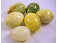 Collectable x6 Solid Natural Onyx Polished Eggs VGC (WH_3065)