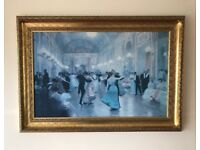 Stunning picture in gilt frame 'An elegant soiree'