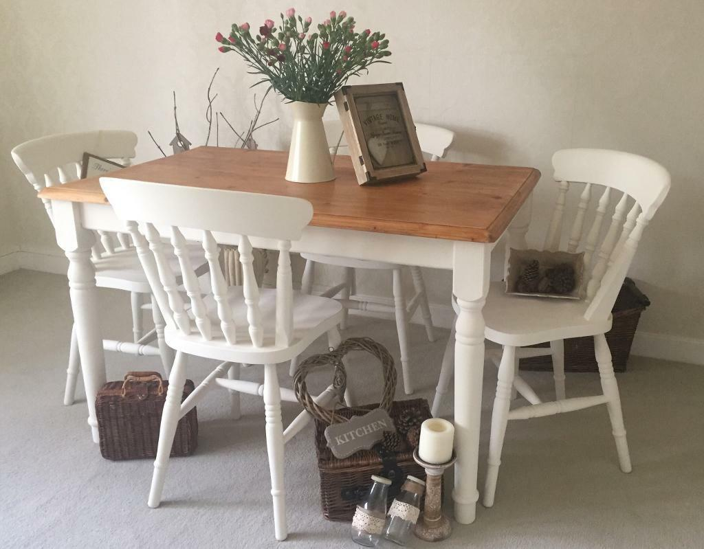 Shabby chic farmhouse table and chairs kitchen dining for Tableaux shabby chic