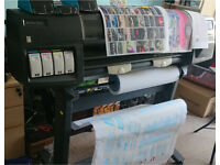 """HP DesignJet 1050 production colour printer 36"""" wide New Belt and service + Ink"""