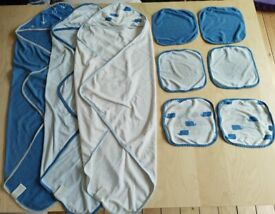 9 Piece Cloud Island Matching Marine Print Lightweight Baby Hooded Towels and Washcloth Bundle Set