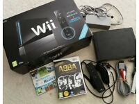 Wii console black, boxed and games