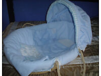 Baby Boy 'B is for Bear' Moses Basket and Rocking Stand