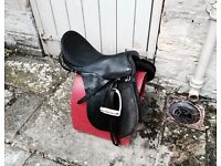 REDUCED Black Leather PONY SADDLE, HELMET and SADDLE STAND