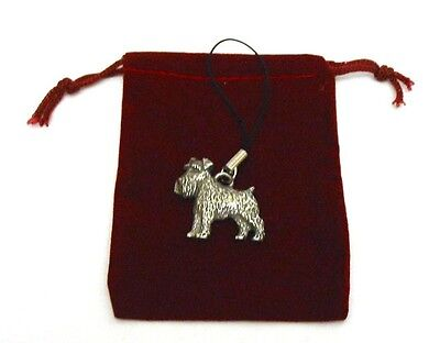 Miniature Schnauzer Dog Pewter Mobile Phone USB Charm Mothers Day Gift NEW
