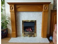 Wooden fire surround, marble insert and gas fire