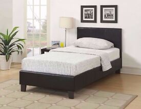 BRAND NEW- Single Leather Bed w/ Dual-Sided Deep Quilted Mattress - Double and Kingsize Available