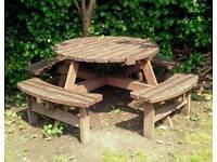 Bracken style round picnic garden table wood