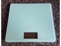 Aqua blue Argos 'Colour Match' kitchen scales.