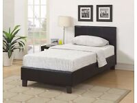 "CHEAPEST PRICES !! BRAND NEW - Single Leather Bed WITH 10"" INCH Royal Full Orthopedic Mattress-"