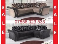 Fabric leather corner sofa brand new left or right black grey brown also cuddle chair