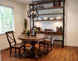 Solid Wood Pedestal Round Dining Table. Ready to go! By LIKEN Woodworks