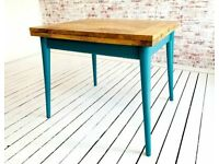 Modern Folding Extendable Mid-Century Rustic Dining Table Painted Finish