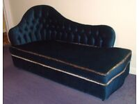 VINTAGE Deep Blue Draylon Velvet CHAISE LONGUE with CHINTZ loose cover from Smoke Free home