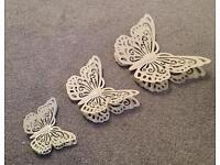 Cream butterfly wall art